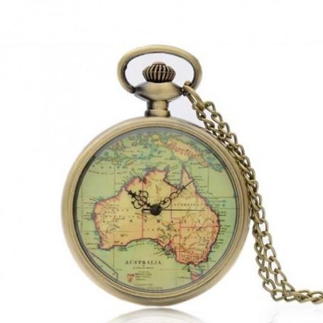 NedRo, Bronzen Zakhorloge Australise Continent Kaart ZN005, Quartz, ZN005, EtronixCenter.com
