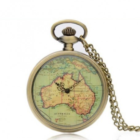 NedRo - Vintage Bronze Australia Continent Quartz Pocket Watch ZN005 - Quartz - ZN005 www.NedRo.us
