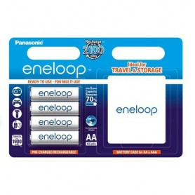 Eneloop, 4x AA R6 Panasonic eneloop Rechargable Battery + Case, Size AA, ON1313, EtronixCenter.com