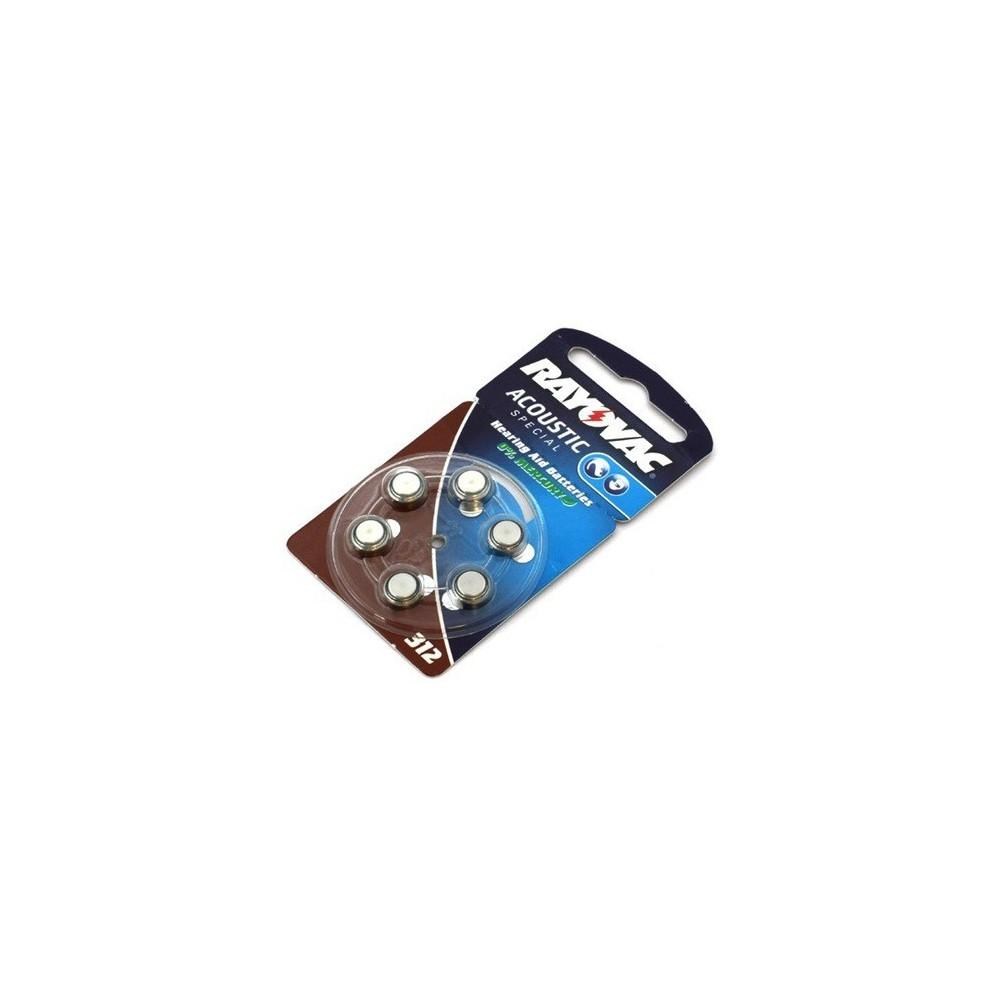 Partij 6x Rayovac Gehoorapparaat batterijen HA312 ON1606