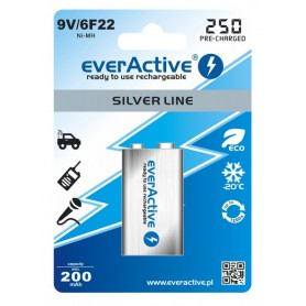EverActive, everActive Ni-MH 9V 6F22 250mAh Silver Line, Other formats, BL169-CB, EtronixCenter.com