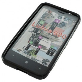OTB - TPU Case Voor Nokia Lumia 620 S-Curve Zwart ON763 - Nokia telefoonhoesjes - ON763 www.NedRo.nl