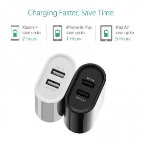 UGREEN - 2.4A / 1A 17W 5V USB Dual Wall Charger EU Plug Black UG153 - Ac charger - UG153