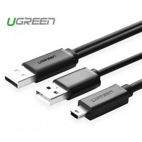UGREEN - USB 2.0 A male ×2 to Mini 5pin Male Cable - USB naar Mini USB kabels - UG080-CB www.NedRo.nl