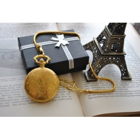 NedRo, Square 3D Pattern Quartz Pocket Watch Golden, Quartz, ZN052, EtronixCenter.com