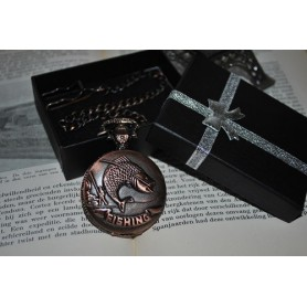 NedRo, Fish Fishing Vintage Red Copper Quartz Pocket Watch, Quartz, ZN053, EtronixCenter.com