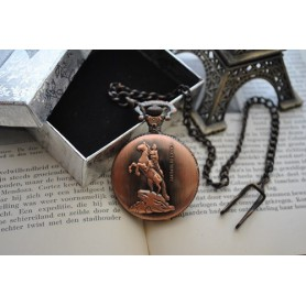 NedRo, Horses / Riders Red Copper Quartz Pocket Watch, Quartz, ZN056, EtronixCenter.com