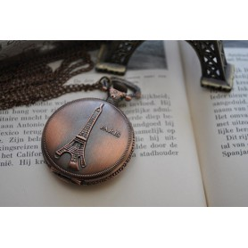 Unbranded, Paris Eiffel Tower Necklace Watch Pocket Watch ZN060, Quartz, ZN060, EtronixCenter.com