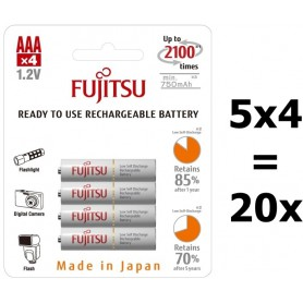 Fujitsu - Fujitsu AAA R3 HR-4UTC 800mAh Oplaadbare Batterijen - AAA formaat - BL213-5x www.NedRo.nl