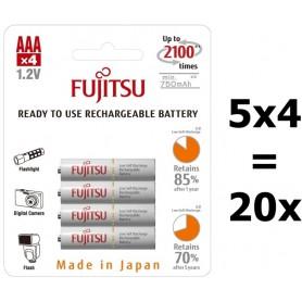 Fujitsu - Fujitsu AAA R3 HR-4UTC 800mAh Rechargeable Batteries - Size AAA - BL213-5x www.NedRo.us