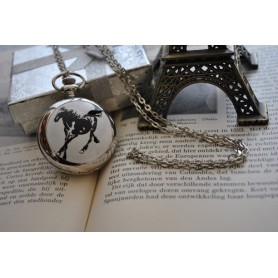 Unbranded, Horse Pocket Watch Chain Watch / Mirror, Quartz, ZN067, EtronixCenter.com