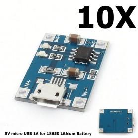 NedRo - 5V Micro USB 1A 18650 Battery Charging Board Module - Overige batterijen - AL887-10x-Bulk www.NedRo.nl