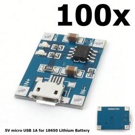 NedRo - 5V Micro USB 1A 18650 Battery Charging Board Module - Overige batterijen - AL887-100x-Bulk www.NedRo.nl