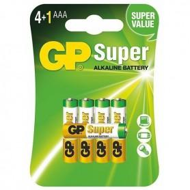 GP, 4+1 GP Super Alkaline AAA LR03/1.5V Battery, Size AAA, BL189-CB, EtronixCenter.com