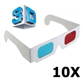 NedRo - 3D Red-Cyan Cardboard Paper Glasses - TV accessories - AL077-10x www.NedRo.us