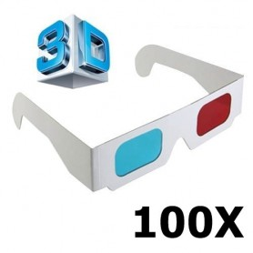NedRo - 3D Red-Cyan Cardboard Paper Glasses - TV accessories - AL077-CB www.NedRo.us