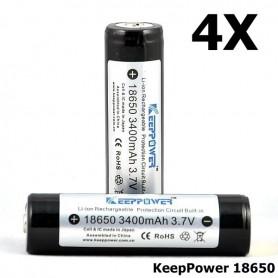 KeepPower - KeepPower 18650 Oplaadbare batterij 3400mAh - 18650 formaat - NK297-4X www.NedRo.nl