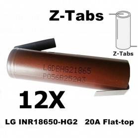 LG - LG INR18650-HG2 20A Unprotected - Size 18650 - NK091-12X www.NedRo.us