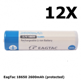 EagTac - EagTac 18650 2600mAh (protected) Button Top - 18650 formaat - NK176-12X www.NedRo.nl