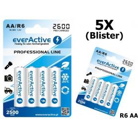 EverActive - R6 AA 2600mAh everActive Professional Line Oplaadbare batterijen - AA formaat - BL156-5x www.NedRo.nl