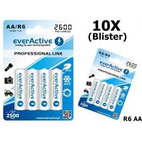 EverActive - R6 AA 2600mAh everActive Professional Line Oplaadbare batterijen - AA formaat - BL156-10x www.NedRo.nl