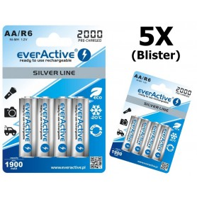 EverActive - everActive Ni-MH R6 AA 2000 mAh Silver Line - AA formaat - BL170-5x www.NedRo.nl