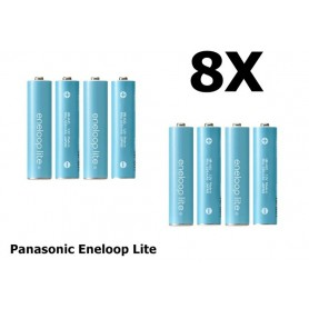 Panasonic - AA R6 Panasonic Eneloop Lite Oplaadbare Batterijen - AA formaat - NK120-8x www.NedRo.nl