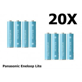 Panasonic - AA R6 Panasonic Eneloop Lite Oplaadbare Batterijen - AA formaat - NK120-20x www.NedRo.nl