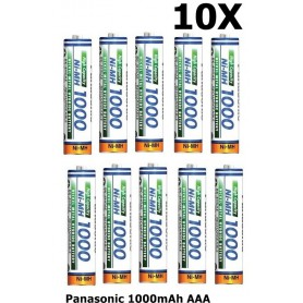 Panasonic - Panasonic 1000mAh AAA Rechargeable Battery NiMH - Size AAA - ON1321-10x www.NedRo.us