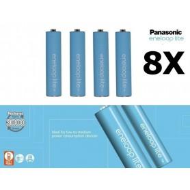 Panasonic - AAA R3 Panasonic Eneloop Lite Oplaadbare Batterijen - AAA formaat - NK037-8x www.NedRo.nl