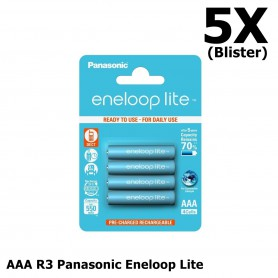 Eneloop - AAA R3 Panasonic Eneloop Lite 550mAh 1.2V Oplaadbare Batterijen - AAA formaat - NK035-5x www.NedRo.nl