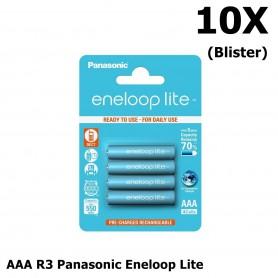 Panasonic - AAA R3 Panasonic Eneloop Lite Oplaadbare Batterijen - AAA formaat - NK035-10x www.NedRo.nl