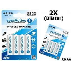EverActive - R6 AA 2600mAh everActive Professional Line Oplaadbare batterijen - AA formaat - BL156-2x www.NedRo.nl