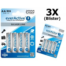 EverActive - everActive Ni-MH R6 AA 2000 mAh Silver Line - AA formaat - BL170-3x www.NedRo.nl