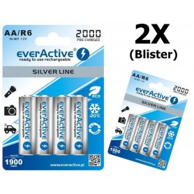 EverActive - everActive Ni-MH R6 AA 2000 mAh Silver Line - AA formaat - BL170-2x www.NedRo.nl