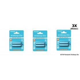Eneloop - AA R6 Panasonic Eneloop Lite 1.2V 1000mAh Oplaadbare Batterijen - AA formaat - NK036-3x www.NedRo.nl