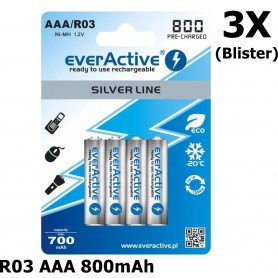 EverActive - R03 AAA 800mAh Rechargeables everActive Silver Line - AAA formaat - BL153-3x www.NedRo.nl