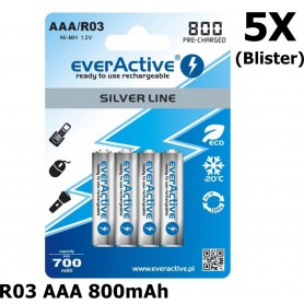 EverActive - R03 AAA 800mAh Rechargeables everActive Silver Line - Format AAA - BL153-5x www.NedRo.ro