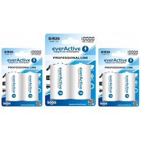 EverActive - R20 D 10000mAh Rechargeables everActive Professional - Size C D and XL - BL158-3x www.NedRo.us
