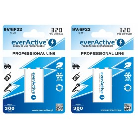 EverActive - 9V 6F22 320mAh Rechargeables everActive Professional - Other formats - BL159-2x www.NedRo.us