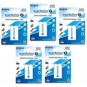 EverActive - 9V 6F22 320mAh Rechargeables everActive Professional - Other formats - BL159-5x www.NedRo.us