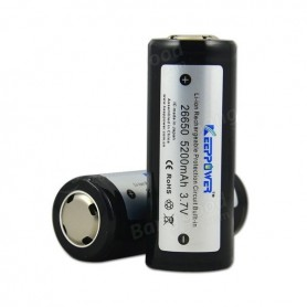 KeepPower - 5200mAh 26650 KeepPower Rechargeable Battery - Size C D and XL - NK084-2x www.NedRo.us