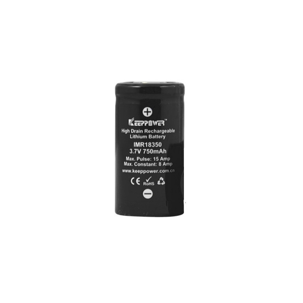KeepPower - IMR18350 battery 750mAh 15A max discharge li-ion high drain battery 3.7V - Andere formaten - NK171 www.NedRo.nl