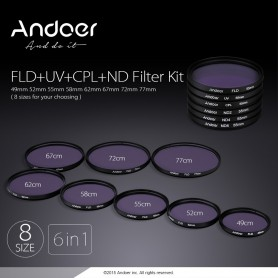 NedRo - Andoer 52mm UV + CPL + FLD + ND (ND2 ND4 ND8) Fotografie Filter Kit Set - Foto-video accessoires - AL627 www.NedRo.nl