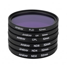 NedRo, Andoer 52mm UV + CPL + FLD + ND (ND2 ND4 ND8) Fotografie Filter Kit Set, Foto-video accessoires, AL627, EtronixCenter.com