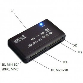 NedRo, Geheugenkaartlezer USB Externe SD SDHC Mini Micro M2 MMC XD CF, SD en USB Memory, AL644, EtronixCenter.com