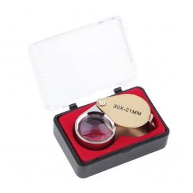 NedRo - 30x-zoom goudkleurig juwelen vergrootglas - Loepen en Microscopen - AL065 www.NedRo.nl