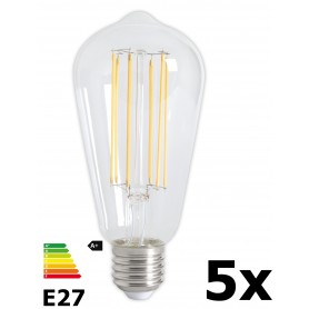 Calex - Vintage LED Lamp 240V 4W 350lm E27 ST64 Clear 2300K Dimmable - Vintage Antique - CA072-5x www.NedRo.us
