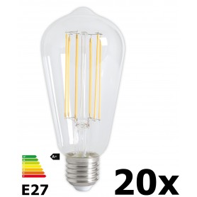 Calex - Vintage LED Lamp 240V 4W 350lm E27 ST64 Clear 2300K Dimmable - Vintage Antique - CA072-20x www.NedRo.us