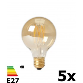 Calex - Vintage LED Lamp 240V 4W 320lm E27 GLB80 GOLD 2100K Dimbaar - Vintage Antiek - CA073-5x www.NedRo.nl